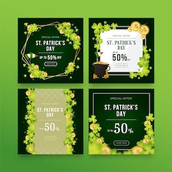 Colección de publicaciones de instagram del día de san patricio