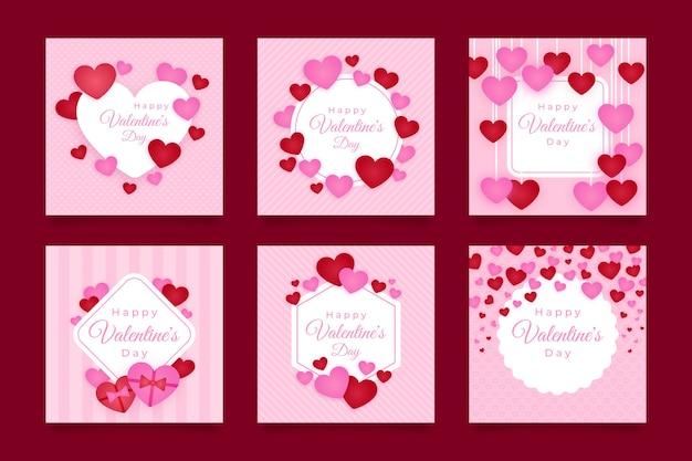 Colección de publicaciones de instagram con el día de san valentín