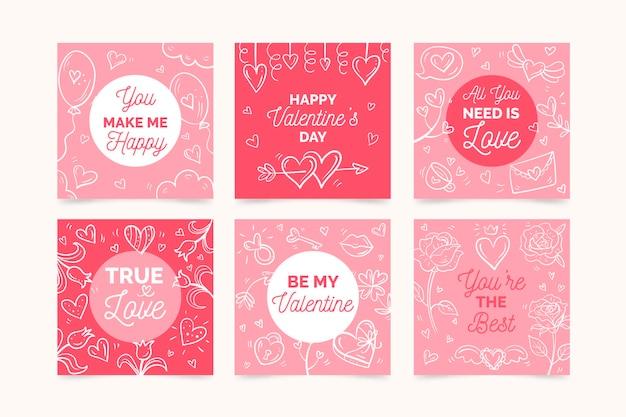 Colección de publicaciones de instagram del día de san valentín