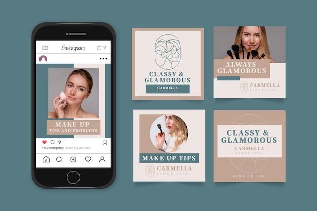 Colección de publicaciones de instagram de diseño plano con foto