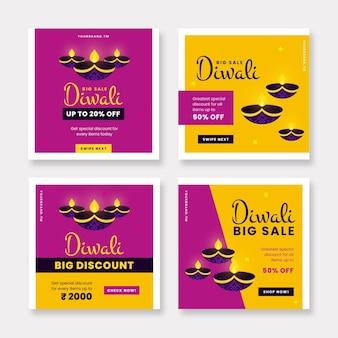Colección de publicaciones de instagram de diwali