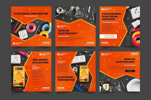 Colección de publicaciones de instagram de electricista