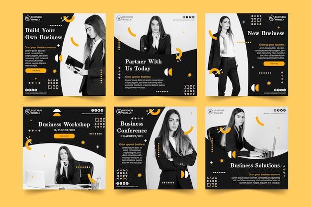 Colección de publicaciones de instagram de empresaria