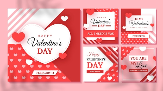 Colección de publicaciones de instagram del evento del día de san valentín