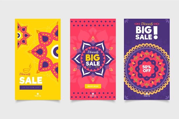 Colección de publicaciones de instagram del evento de venta de diwali