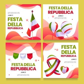 Colección de publicaciones de instagram de festa della repubblica de dibujos animados