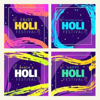 Colección de publicaciones de instagram del festival holi dibujadas a mano