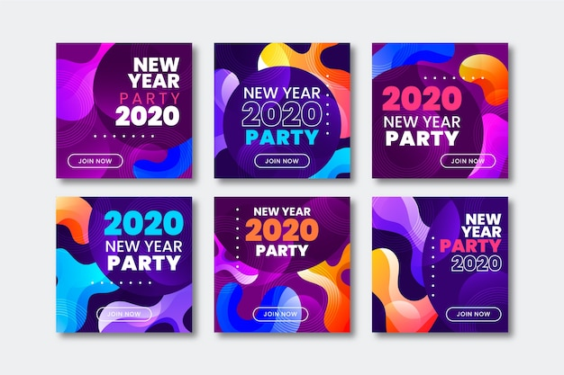 Colección de publicaciones de instagram de fiesta de año nuevo 2020