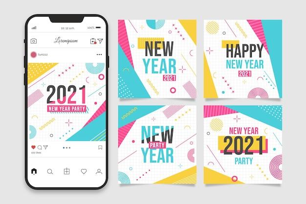 Colección de publicaciones de instagram de fiesta de año nuevo 2021