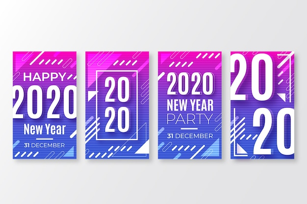 Colección de publicaciones de instagram de fiesta de año nuevo