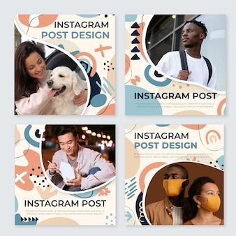 Colección de publicaciones de instagram de formas abstractas planas dibujadas a mano