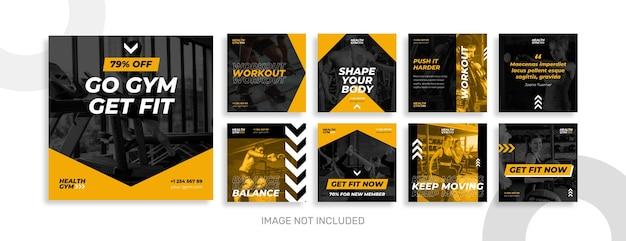 Colección de publicaciones de instagram de gimnasio y deporte