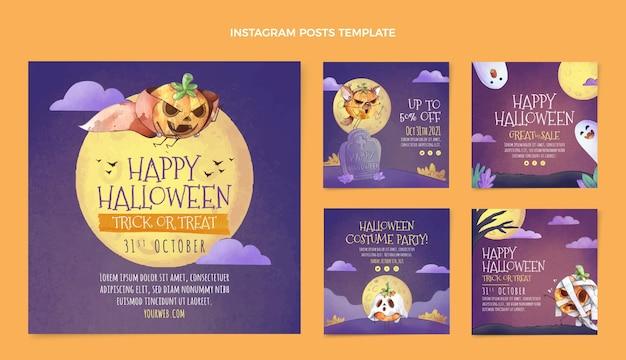 Colección de publicaciones de instagram de halloween en acuarela