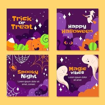Colección de publicaciones de instagram de halloween dibujadas a mano