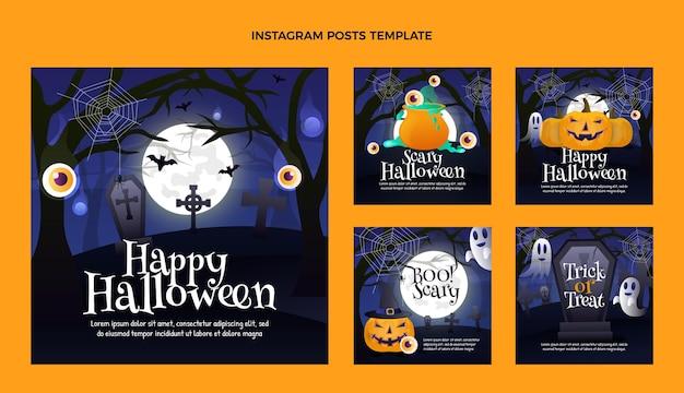 Colección de publicaciones de instagram de halloween gradiente