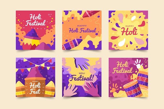 Colección de publicaciones de instagram de holi festival de redes sociales