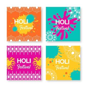Colección de publicaciones de instagram para holi con manchas de colores