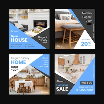 Colección de publicaciones de instagram inmobiliarias planas