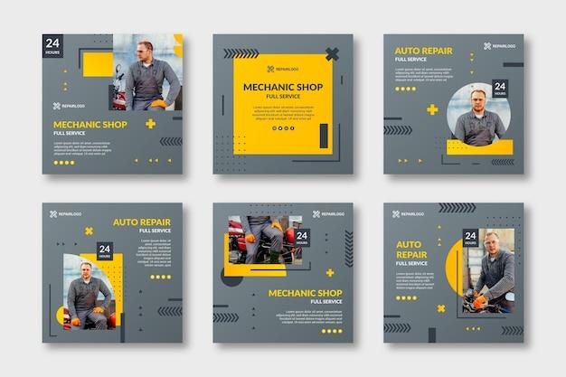 Colección de publicaciones de instagram de mecánico