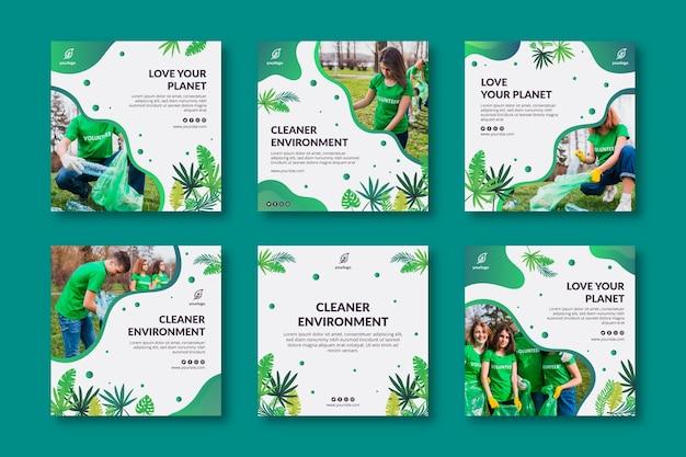 Colección de publicaciones de instagram de medio ambiente