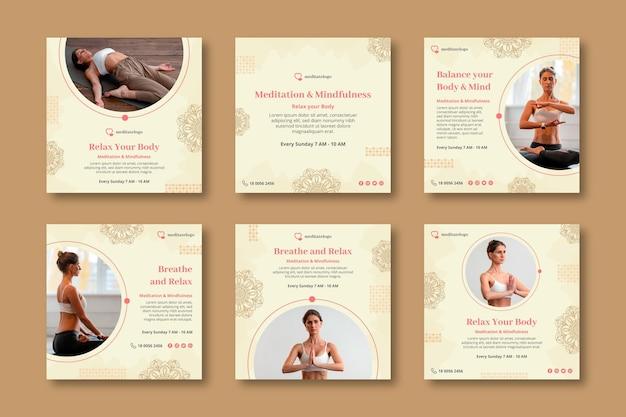 Colección de publicaciones de instagram para meditación y atención plena