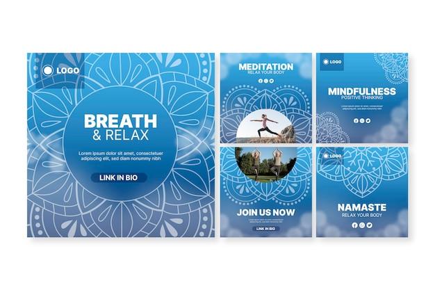 Colección de publicaciones de instagram de meditación de yoga