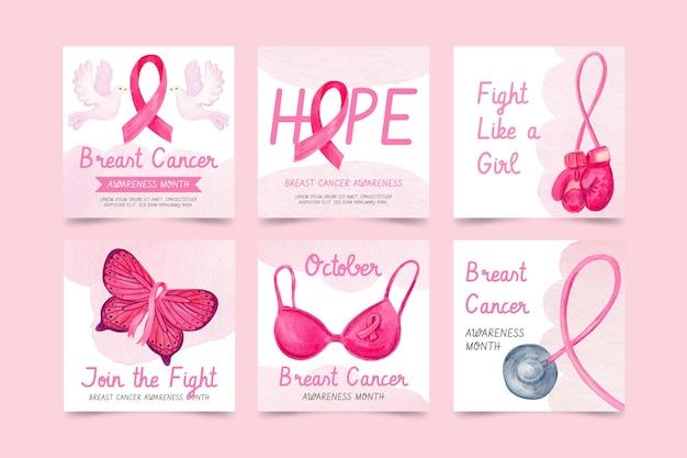 Colección de publicaciones de instagram del mes de concientización sobre el cáncer de mama en acuarela