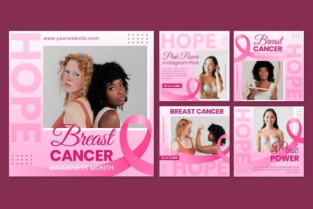 Colección de publicaciones de instagram del mes de concientización sobre el cáncer de mama gradiente