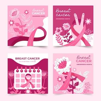 Colección de publicaciones de instagram del mes de concientización sobre el cáncer de mama plano dibujado a mano