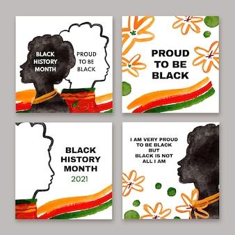 Colección de publicaciones de instagram del mes de la historia negra en acuarela vector gratuito