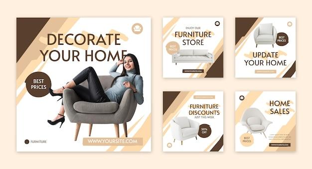 Colección de publicaciones de instagram de muebles planos