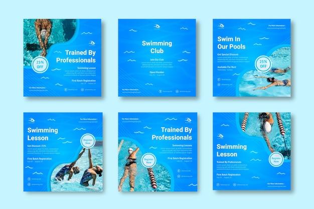 Colección de publicaciones de instagram de natación