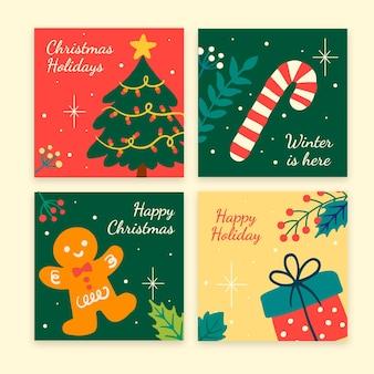 Colección de publicaciones de instagram navideñas planas dibujadas a mano