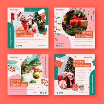 Colección de publicaciones de instagram navideñas planas