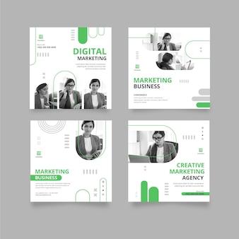 Colección de publicaciones de instagram de negocios de marketing