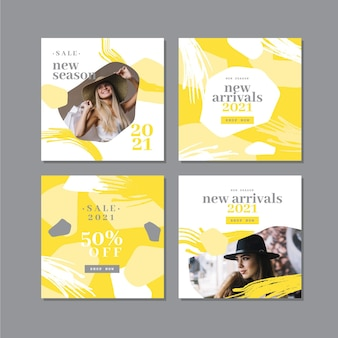 Colección de publicaciones de instagram orgánicas amarillas y grises