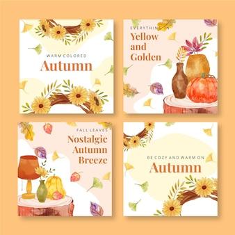Colección de publicaciones de instagram de otoño en acuarela