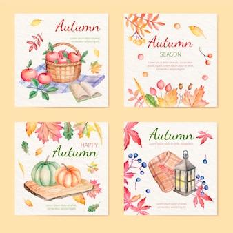 Colección de publicaciones de instagram de otoño en acuarela vector gratuito