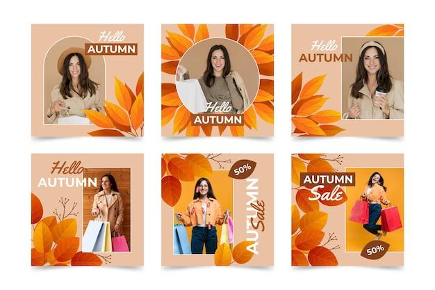 Colección de publicaciones de instagram de otoño gradiente con foto