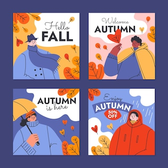 Colección de publicaciones de instagram de otoño planas dibujadas a mano