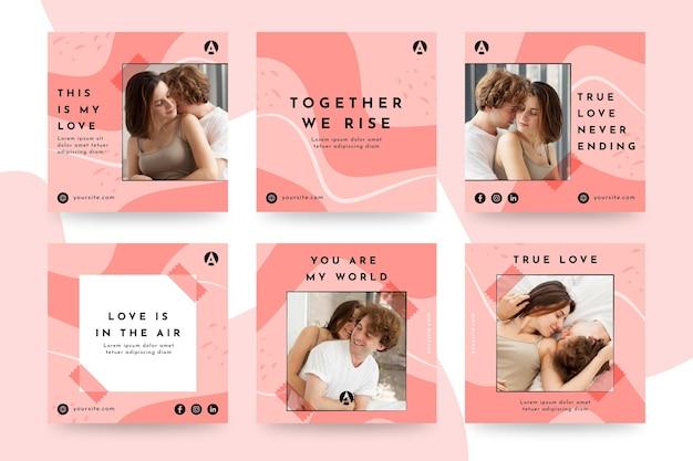 Colección de publicaciones de instagram de pareja romántica