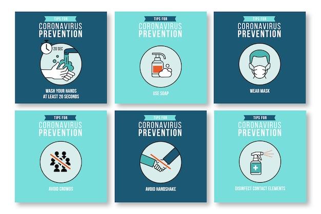Colección de publicaciones de instagram para la prevención del coronavirus