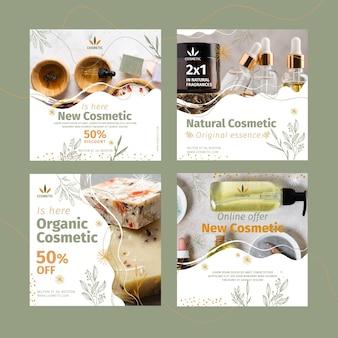 Colección de publicaciones de instagram para productos cosméticos