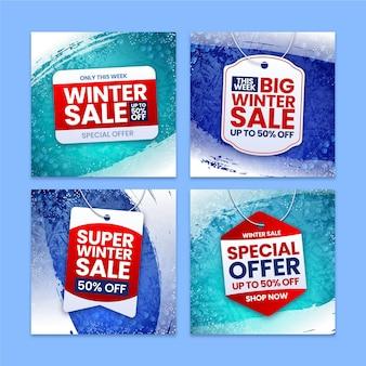 Colección de publicaciones de instagram de rebajas de invierno realistas