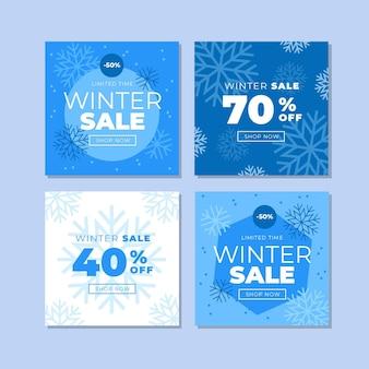 Colección de publicaciones de instagram de rebajas de invierno