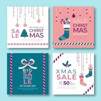 Colección de publicaciones de instagram de rebajas de navidad