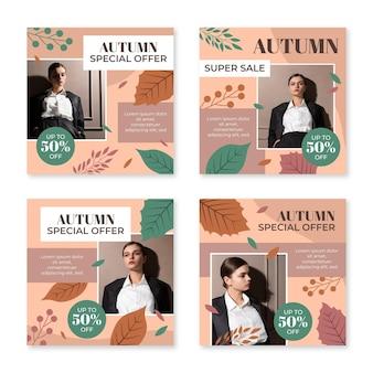 Colección de publicaciones de instagram de rebajas de otoño con foto