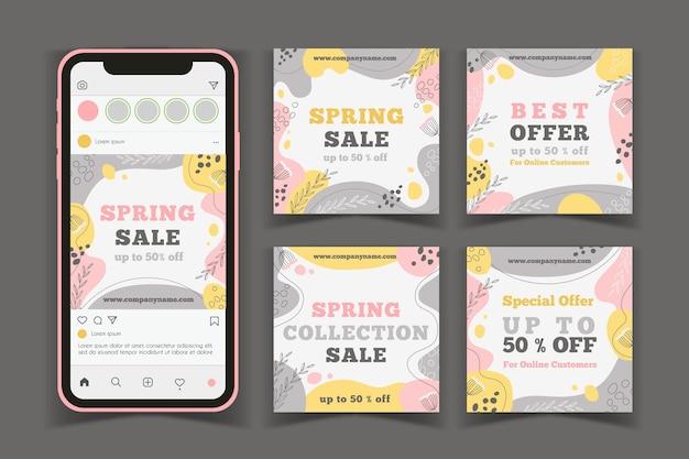 Colección de publicaciones de instagram de rebajas de primavera dibujadas a mano