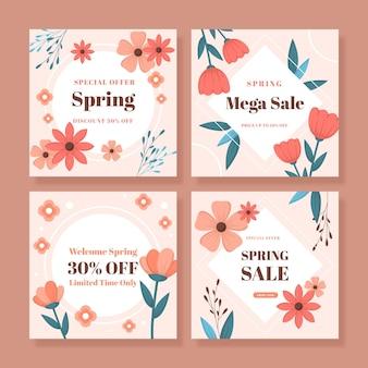 Colección de publicaciones de instagram de rebajas de primavera plana