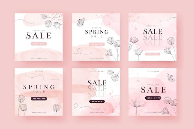 Colección de publicaciones de instagram de rebajas de primavera